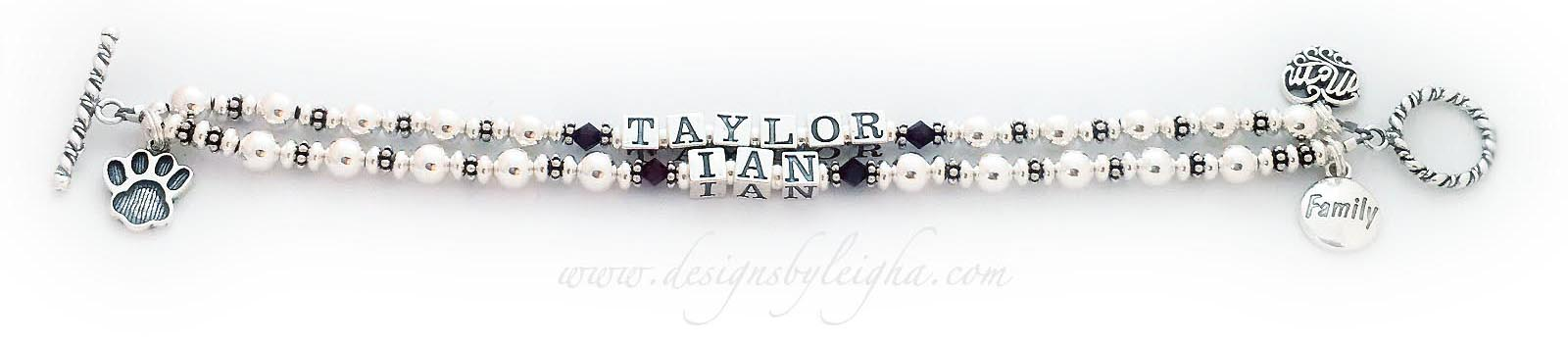 DBL-SS8-2 string  Taylor and Ian on a 2-string Mother Bracelet with 3 beautiful charms; Filigree Mom charm, FAMILY charm and a Paw Print charm with a Twisted Toggle Clasp.