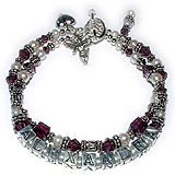 Sterling Silver Bracelet for Mommy - 2 string bracelet with June Swarovski crystals