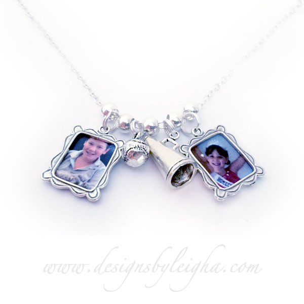 Sterling Silver Sports Charm Necklace with Kids PIctures