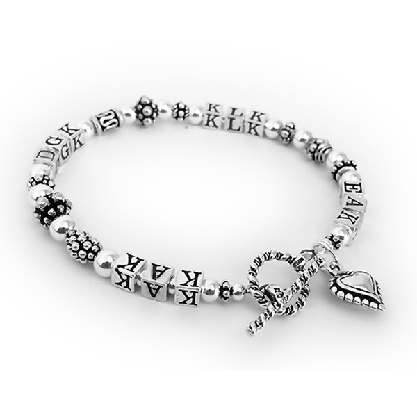 Monogram Bracelet - 4 sets of initials. Toggle Clasp with an add-on Small Beaded Heart Charm Bracelet