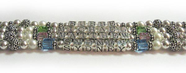 Bubbe Bracelet with 3 grandkids' names and 3 grandkids' birthstone crystals