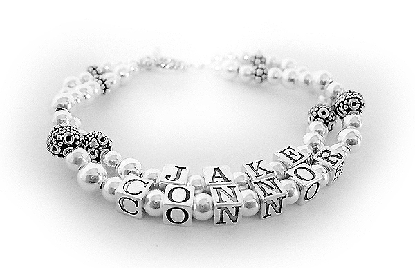 2 name mommy sterling silver name bracelet with Connor and Jake