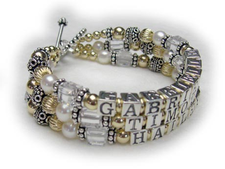 3 string gold mothes bracelet with 3 childrens names and birthstone crystals