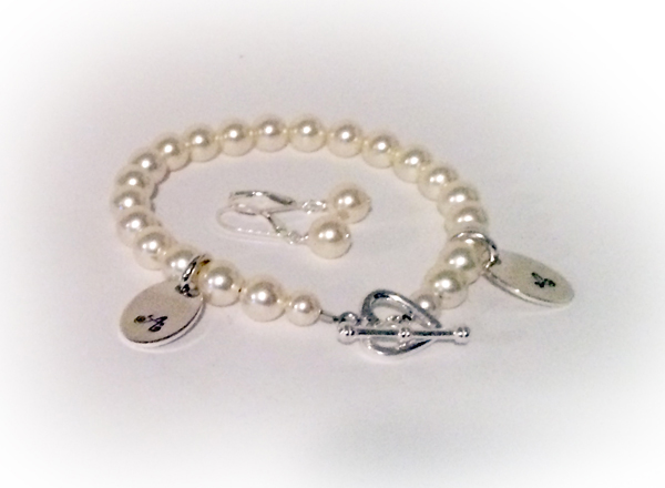 Pearl Initial Charm Bracelet