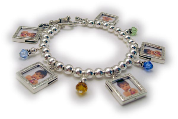 Shown With 5 Picture Frame Charms 4 Birthstones Crystal Dangles A Grandma Charm