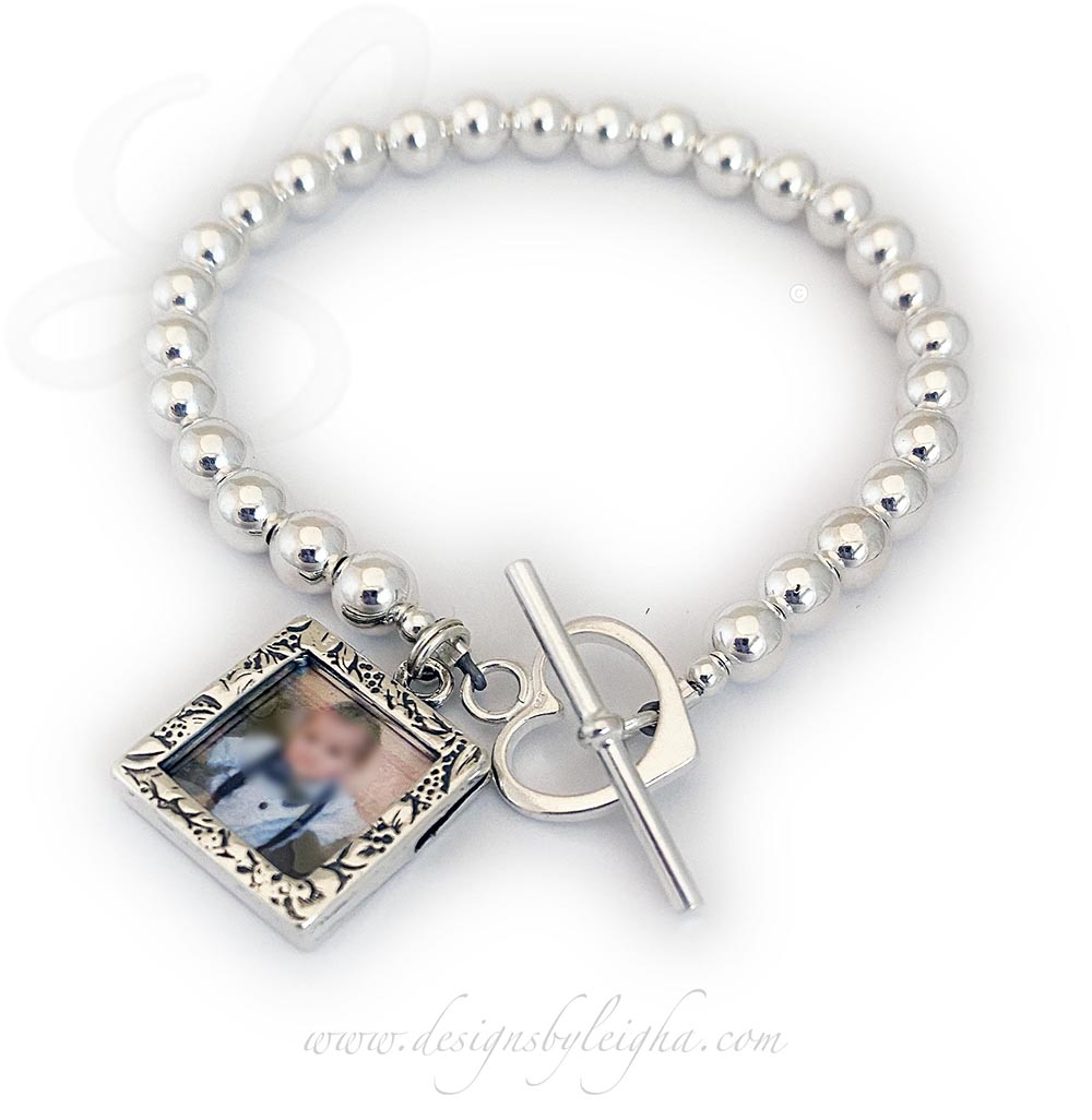 Grandma Photo Charm Bracelet shown with 1 picture frame charm and a Heart Toggle Clasp.
