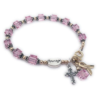 Gold Courage and Sterling Silver Pink Swarovksi crystal Ribbon Bracelet with gold beads, a gold clasp, a gold ribbon charm, a COURAGE bead and a fancy cross charm - CBB-R29