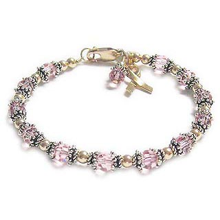 Gold Pink Breast Cancer Bracdelet with a Ribbon Charm. CBB-R32