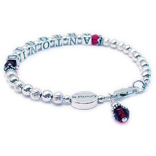 IN MEMORY Bracelets with IN MEMORY Bead and Name Ribbon Charm optional. CBB-R50