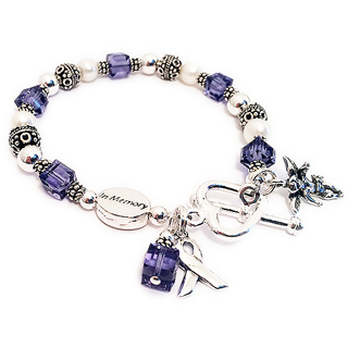 Purple Ribbon Bracelet with a angel with wings charm, IN MEMORY bead, ribbon charm, crystal dangle and a heavy heart toggle clasp. CBB-R25