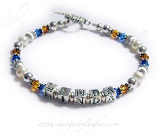 School Colors Bracelet (Pride and Spirit) with Linda and Blue and Gold Swarovski Crystals