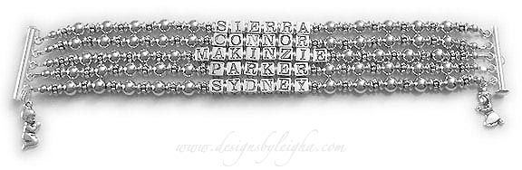 DBL-SS8-5	String Bracelet This is a 5 string bracelet with 5 names and they added a Praying Boy and a Praying Girl charms. Order: SIERRA, CONNOR, MAKINZIE, PARKER, SYDNEY.