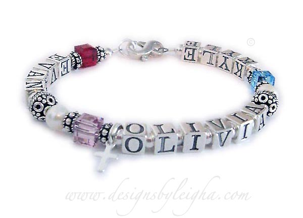 DBL-MB6 - This Monogram Bracelet is shown with kids' names but it is just  a representation so you can see what it will look like with kids initials