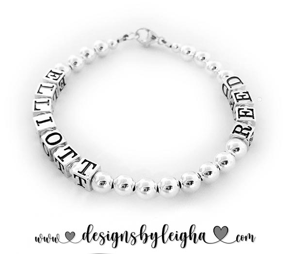 This is a 1-string all Sterling Silver Mother Bracelet with 2 Kids names: ELLIOTT & REED