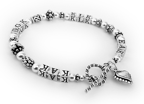 Sterling Silver Initials or Monogram bracelet for Mommy or Grandma - DBL-MB7 - 4 sets of initials