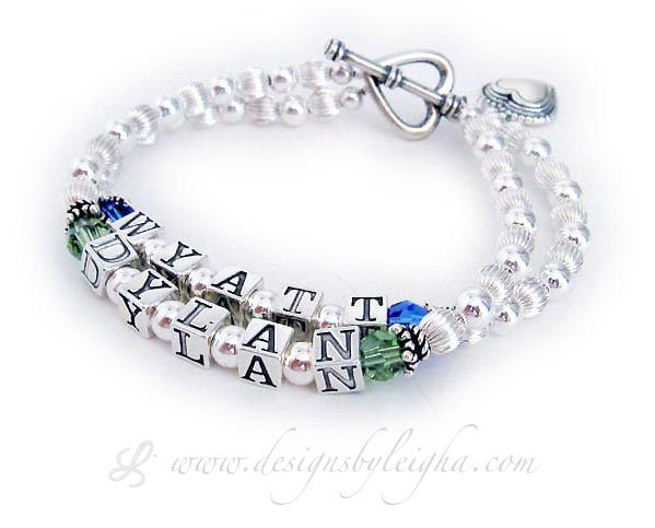 DBL-SS1-2	String Bracelet Wyatt & Dylan Birthstone Mothers Bracelet with an upgraded Heart Toggle Clasp and a Beaded Heart Charm.