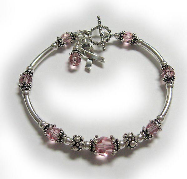 Valentines Day Bracelet with pink crystal dangle