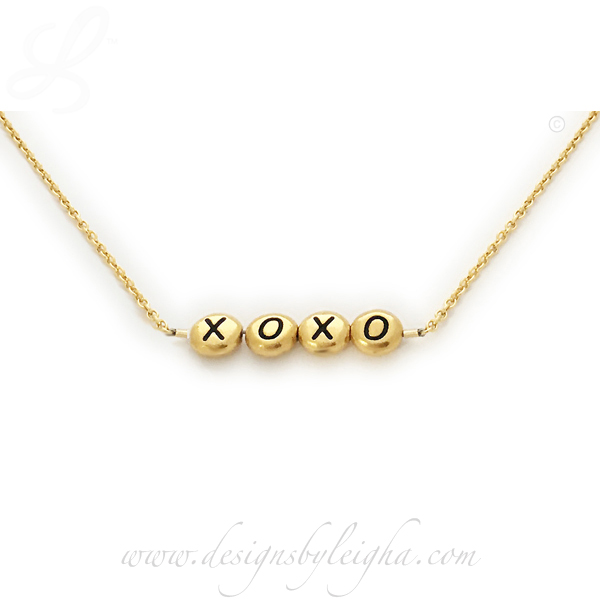 XOXO gold necklace for Valentiene's Day - Tell her you love your with Hugs and kisses!