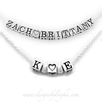 Valentine's Day K Loves E Heart Heart Necklace