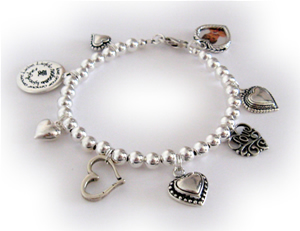 Charm bracelet with lots of hearts & LOVE charms.