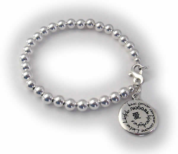 I love you in many languages bracelet with Love charm