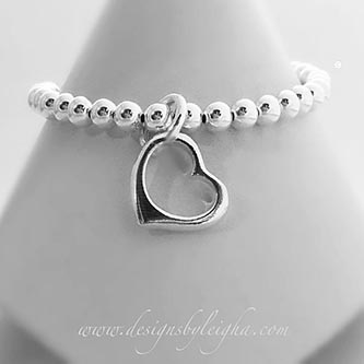 Sterling Silver Beaded Heart Charm bracelet (engravable). - Valentine's Day Gift Ideas