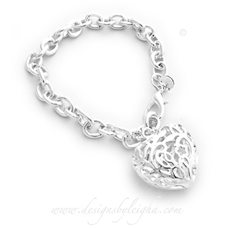 Oranate Puffy Heart Charm Bracelet