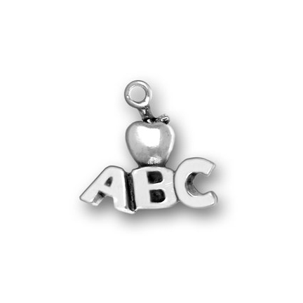 Sterling Silver ABC / Apple Charm for a Necklace or Bracelet
