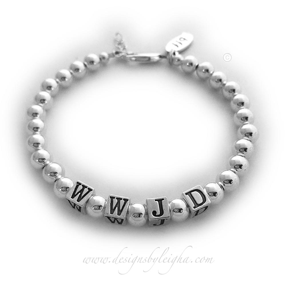 "DBL-MB-WWJD-9  Materials: .925 sterling silver This WWJD Bracelet is shown with a lobster extension clasp and they added a ""bff"" (Best Friends Forever) charm."