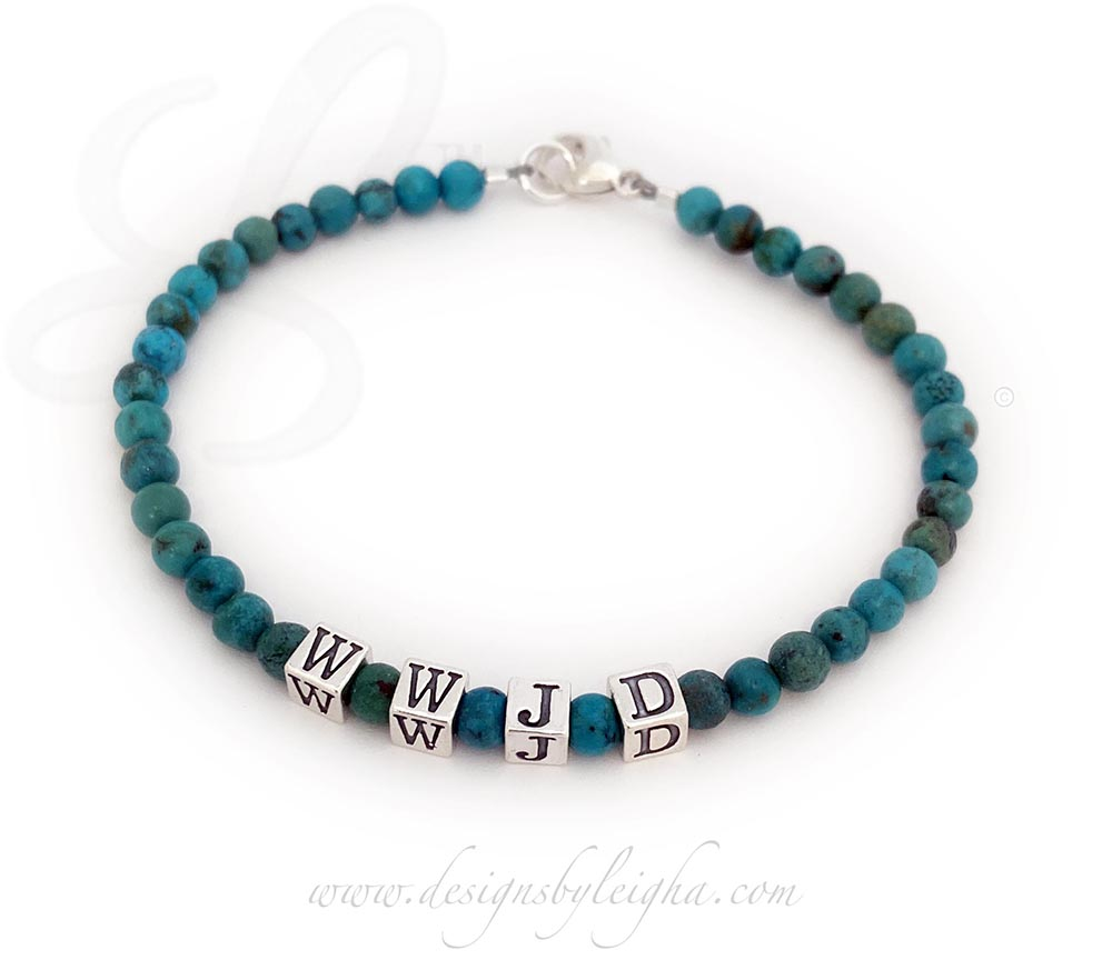 This Turquoise WWJD Bracelet is shown with 4mm Turquoise Beads with 4.5mm Sterling Silver WWJD block letters and a lobster claw clasp.